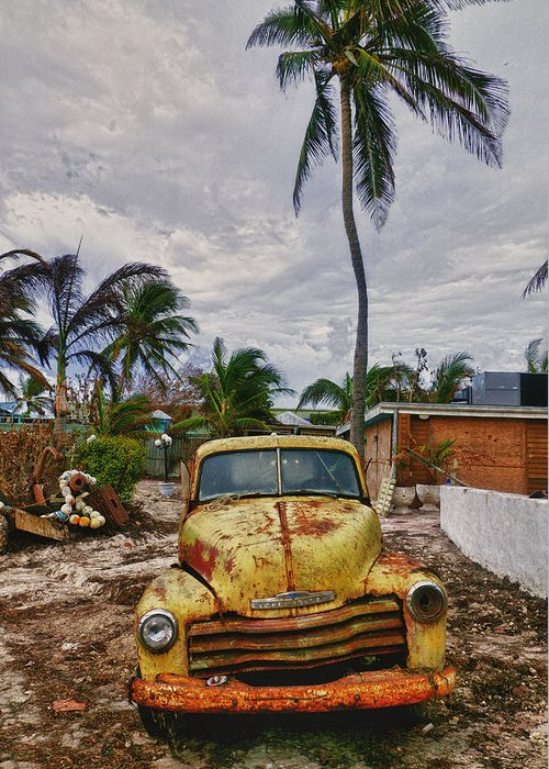 Old Yellow Truck Greeting Card featuring the photograph Old Yellow Truck Florida by Garry Gay