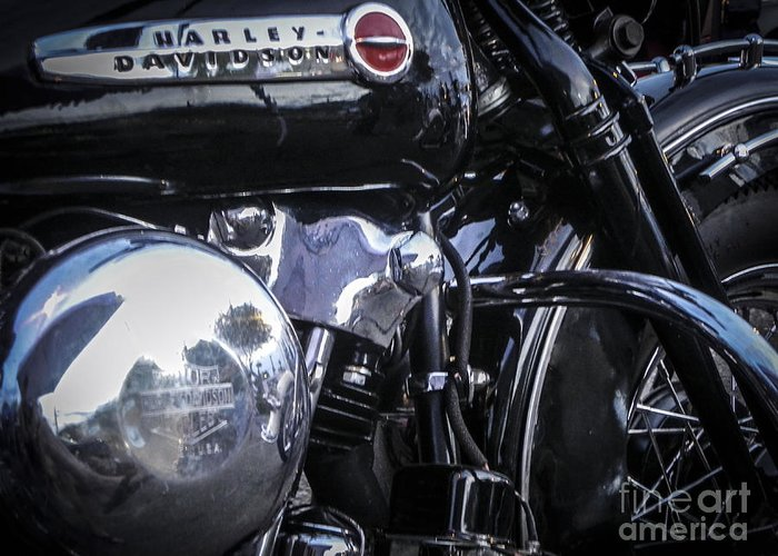 Harley Davidson Greeting Card featuring the photograph Oldie But Goodie by Chuck Re