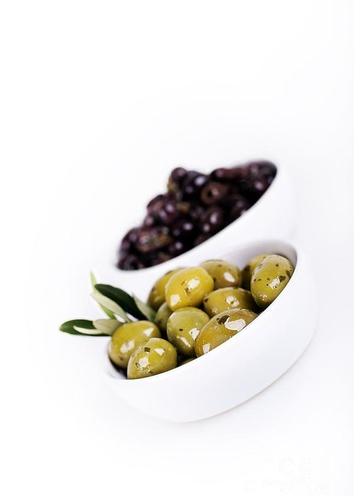 Appetizer Greeting Card featuring the photograph Olive Bowls by Jane Rix
