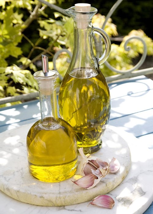 Chopping Board Greeting Card featuring the photograph Olive Oil by Erika Craddock