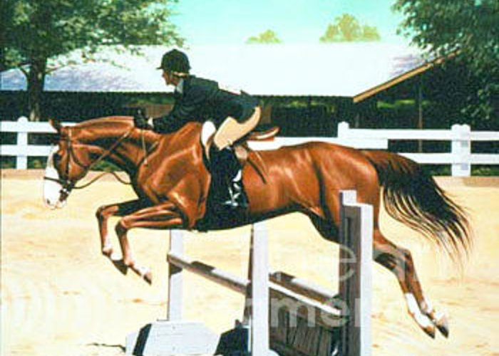 Jumping Greeting Card featuring the painting Oliver's Oxer by Phil Hopkins