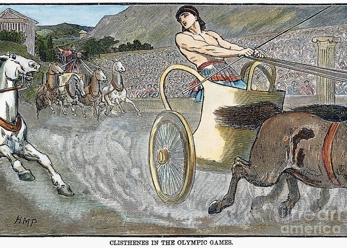 6th Century B.c Greeting Card featuring the photograph Olympic Games, Antiquity by Granger