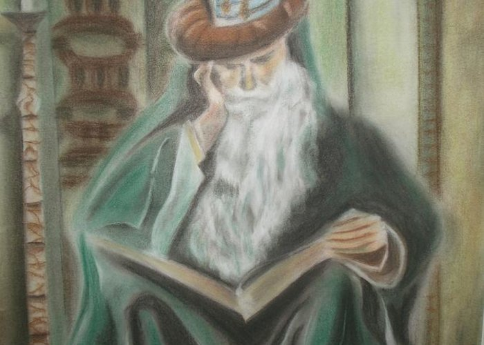Omar Khayyam Greeting Card featuring the pastel Omar Khayyam by Prasenjit Dhar