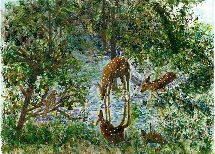 Deer Greeting Card featuring the painting On Looker by Joy Braverman