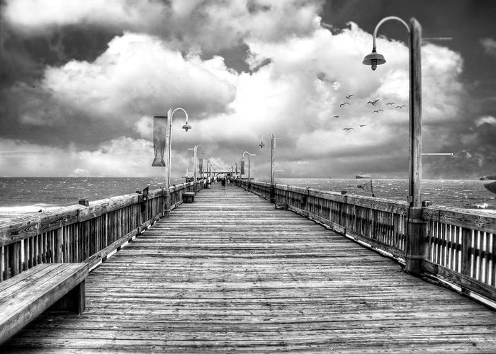 Tybee Greeting Card featuring the photograph On The Pier At Tybee-bw by Tammy Wetzel