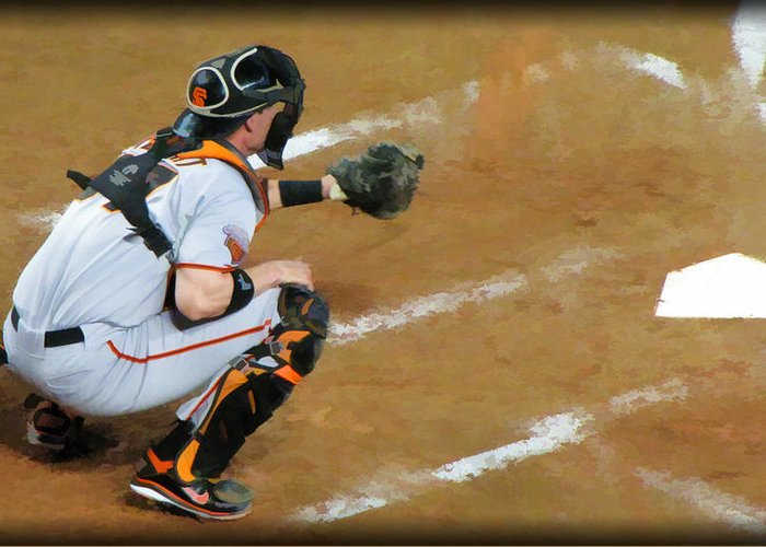 San Francisco Giants Greeting Card featuring the photograph On The Ready by Diane Wood