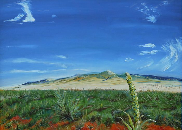 Cimarron Greeting Card featuring the painting On The Road To Cimarron by Mark Malone