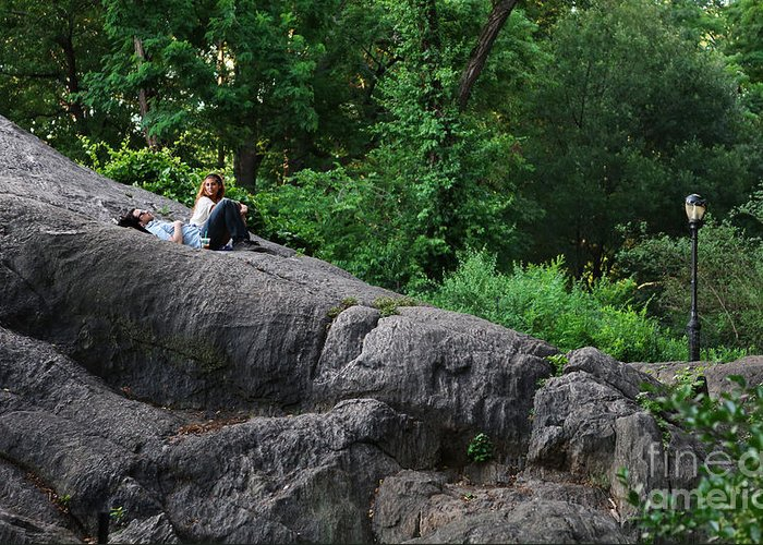 Lee Dos Santos Greeting Card featuring the photograph On The Rocks In Central Park by Lee Dos Santos