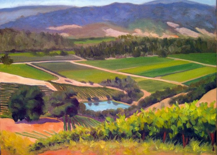 Vineyards Greeting Card featuring the painting On The Top by Char Wood