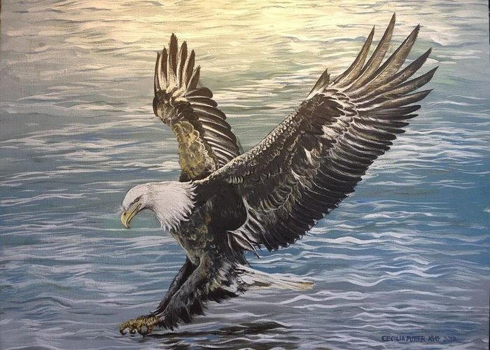 Eagle Swooping In For The Catch. I Love To Paint A Lot Of Datail Greeting Card featuring the painting On Wings Of Eagles by Cecilia Putter