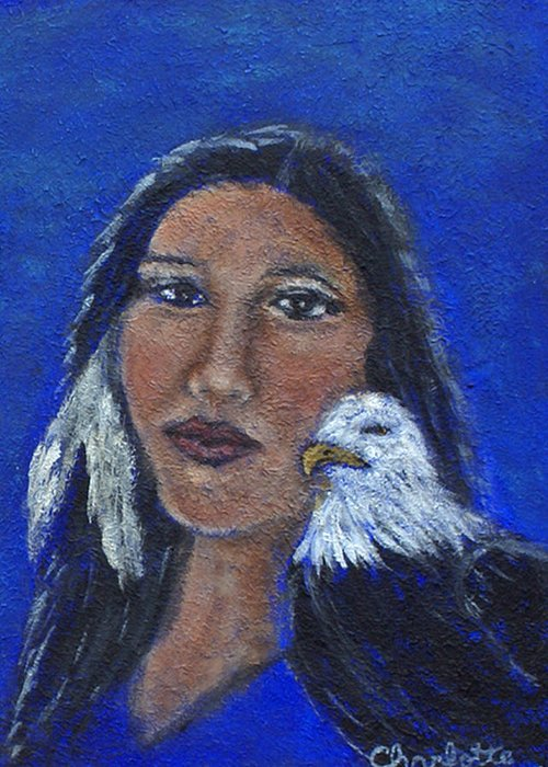 Native American Greeting Card featuring the painting Onawa Native American Woman Of Wisdom by The Art With A Heart By Charlotte Phillips
