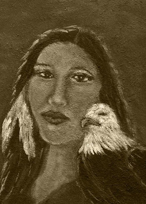 Native American Greeting Card featuring the painting Onawa Native American Woman Of Wisdom With Eagle In Sepia by The Art With A Heart By Charlotte Phillips