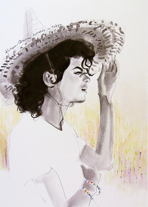 Michael Jackson Greeting Card featuring the drawing One Day In Your Life by Hitomi Osanai