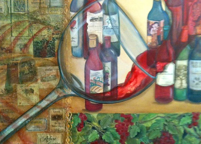 Wine Greeting Card featuring the painting One Glass Too Many by Debi Starr