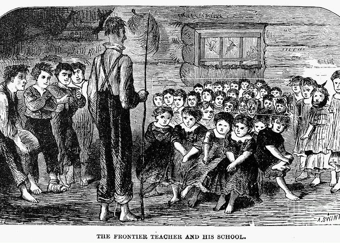 1883 Greeting Card featuring the photograph One-room Schoolhouse, 1883 by Granger