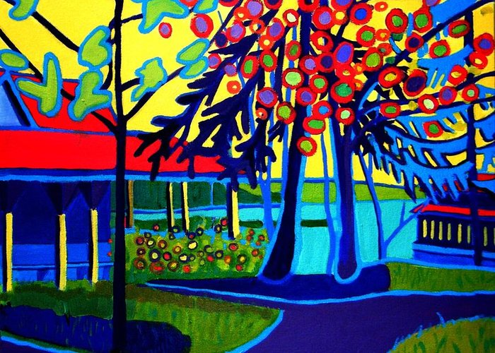 Spring Greeting Card featuring the painting Sunrise at Tucks Point by Debra Bretton Robinson