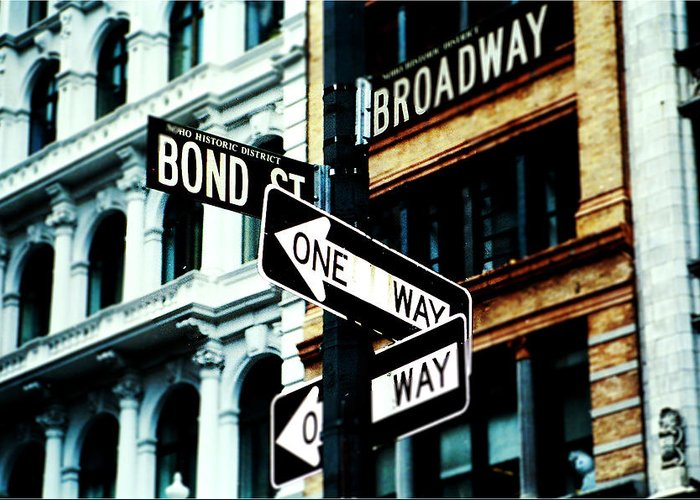 New York City Greeting Card featuring the mixed media One Way Junction by Jenn Bodro