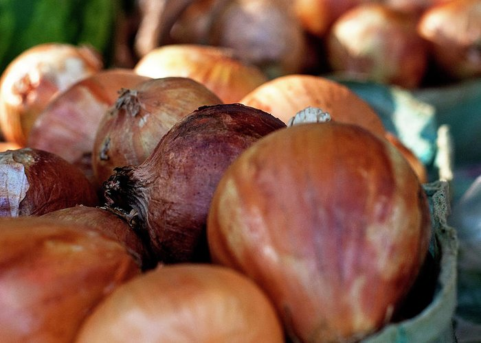 Onions Greeting Card featuring the photograph Onions At A Roadside Market by Toni Hopper