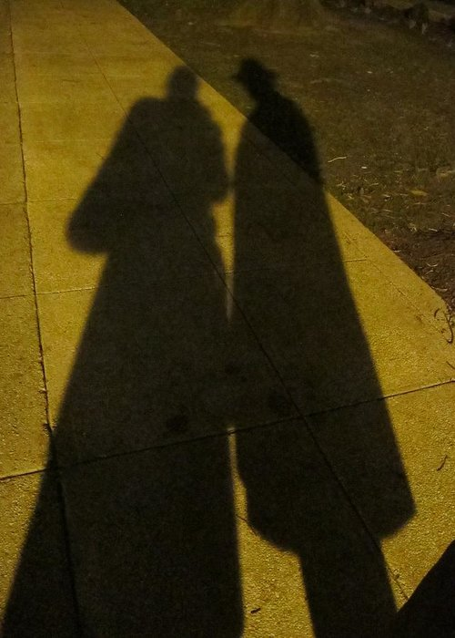 People Shadow Greeting Card featuring the photograph Only The Shadow Knows by Valia Bradshaw