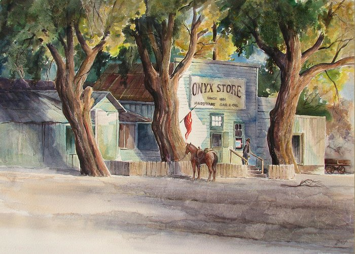 Old Greeting Card featuring the painting Onyx Store by Don Trout