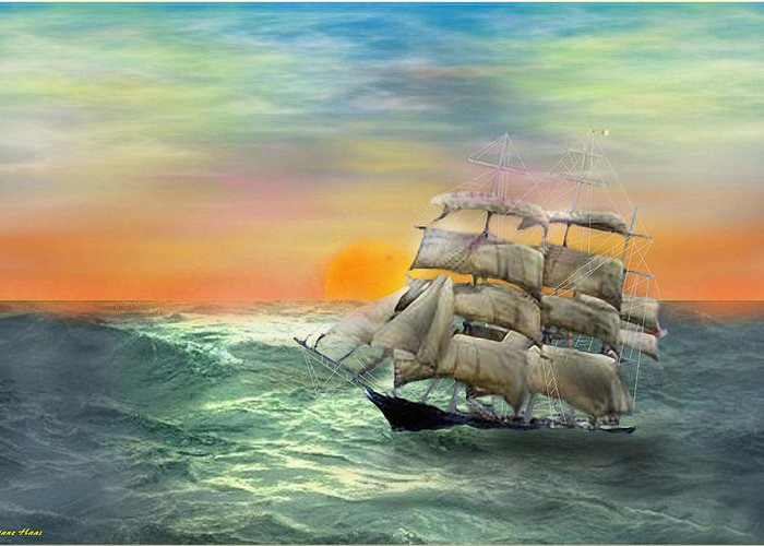 Tall Sail Ship Greeting Card featuring the digital art Open Seas by Diane Haas