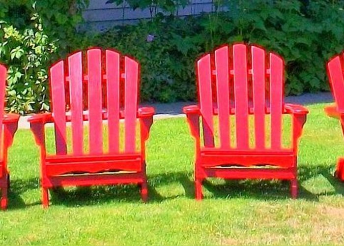 Adirondack Chair Greeting Card featuring the photograph Open Seating by Randall Weidner