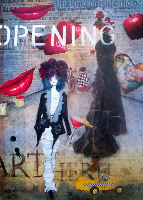 Contemporary Using Mixed Media On Canvas Greeting Card featuring the mixed media Opening Night by Jo Roffe