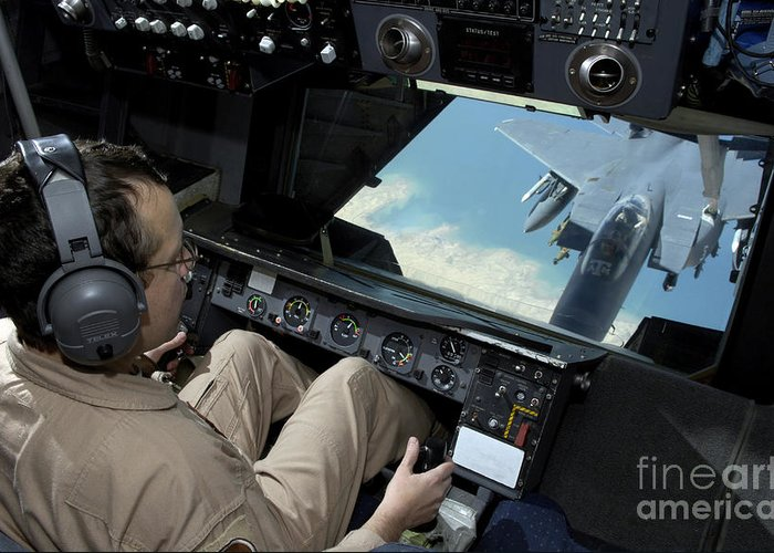 Aerial Greeting Card featuring the photograph Operator Refuels An F-16 Fighting by Stocktrek Images