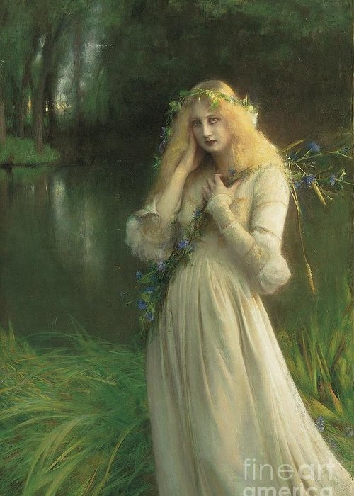 Ophelia Greeting Card featuring the painting Ophelia by Pascal Adolphe Jean Dagnan Bouveret