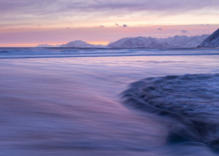 Alaska Greeting Card featuring the photograph Opposing Waves At Sunset by Tim Grams