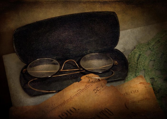 Hdr Greeting Card featuring the photograph Optometrist - Glasses For Reading by Mike Savad