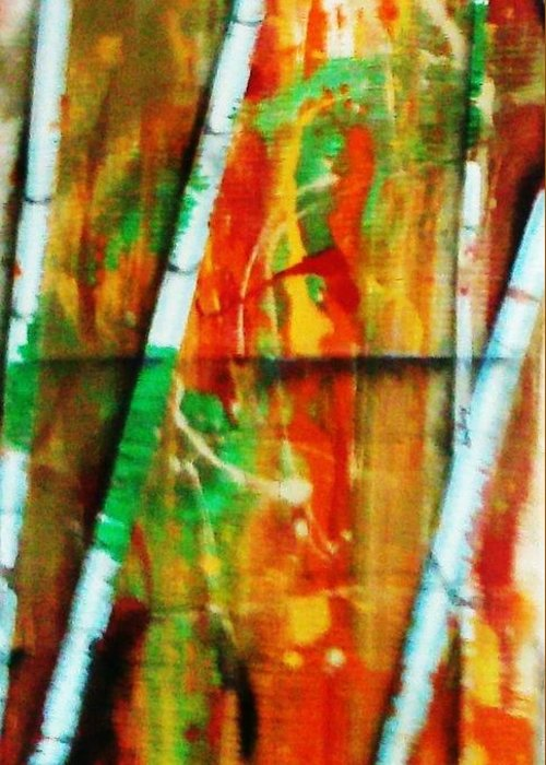 Orange Greeting Card featuring the painting Orange Bamboo by Steve Fisher