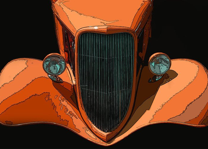 Orange Jalopy Greeting Card featuring the photograph Orange Jalopy by Samuel Sheats