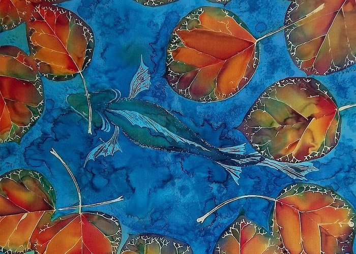 Fish Greeting Card featuring the tapestry - textile Orange Leaves And Fish by Carolyn Doe