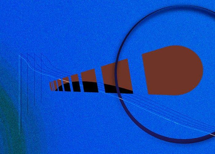 Grant Van Zevern Greeting Card featuring the digital art Orange Over Blue by Grant Van Zevern