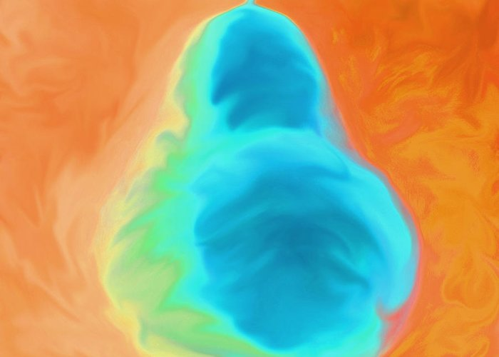 Pear Greeting Card featuring the painting Orange Pearspective by Victoria Page