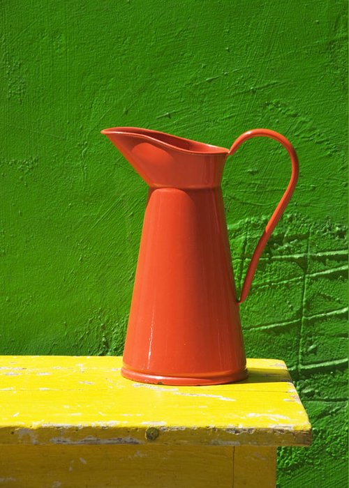 Pitcher Greeting Card featuring the photograph Orange Pitcher by Garry Gay
