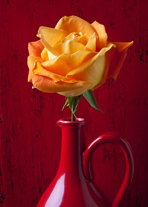 Orange Greeting Card featuring the photograph Orange Rose In Red Pitcher by Garry Gay