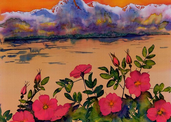 Orange Greeting Card featuring the tapestry - textile Orange Sun Over Wild Roses by Carolyn Doe