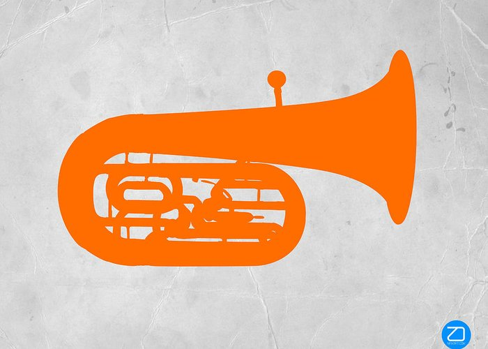 Tuba Greeting Card featuring the photograph Orange Tuba by Naxart Studio