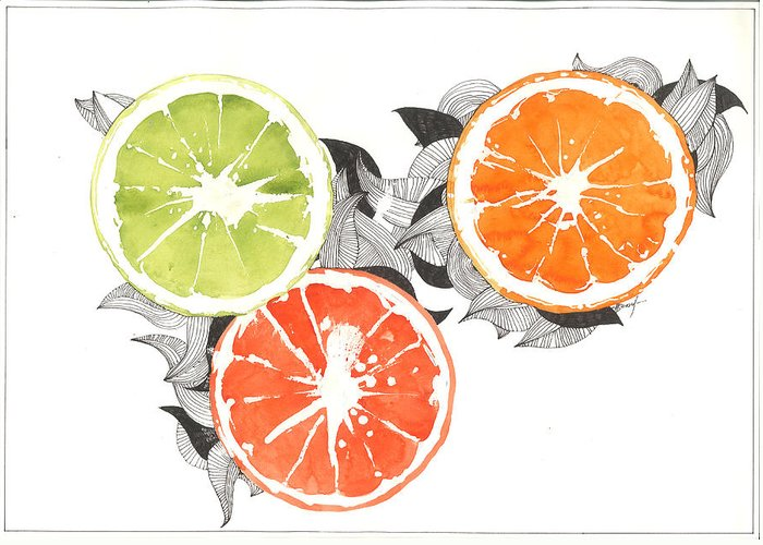 Graphics Greeting Card featuring the painting Orange by Viki Vehnovsky