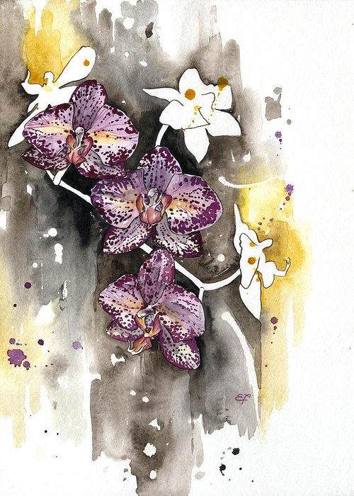 Orchid Greeting Card featuring the painting Orchid 13 Elena Yakubovich by Elena Yakubovich