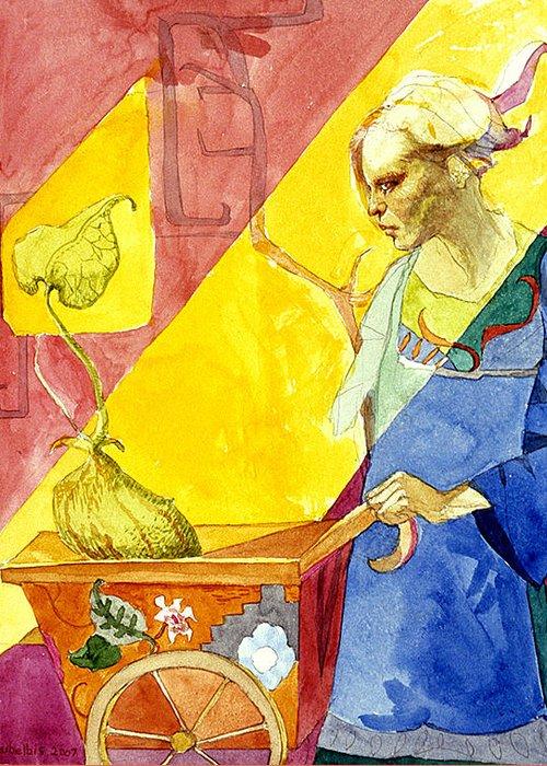 Women Greeting Card featuring the painting Origins 2 by Ellen Dreibelbis