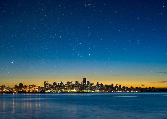Vancouver Greeting Card featuring the photograph Orion Over Vancouver, Canada by David Nunuk