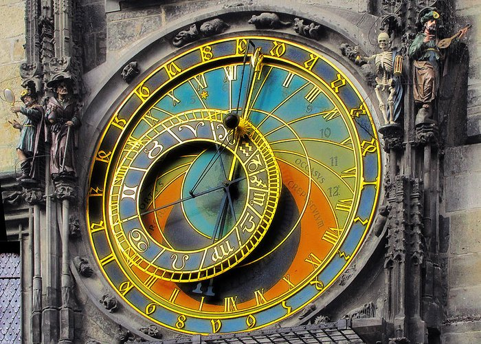 Astronomy Greeting Card featuring the photograph Orloj - Astronomical Clock - Prague by Christine Till