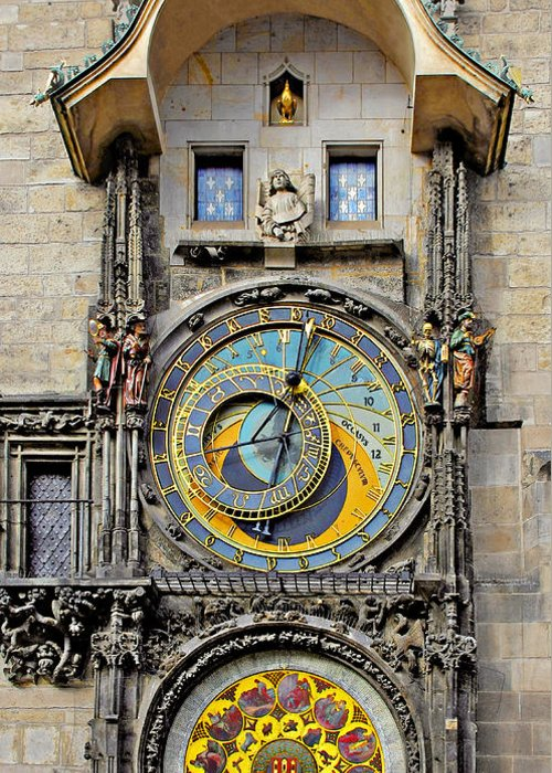 Astronomy Greeting Card featuring the photograph Orloj - Prague Astronomical Clock by Christine Till