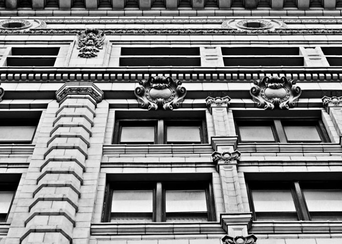 Detroit Greeting Card featuring the photograph Ornate Building - Black And White by Alanna Pfeffer