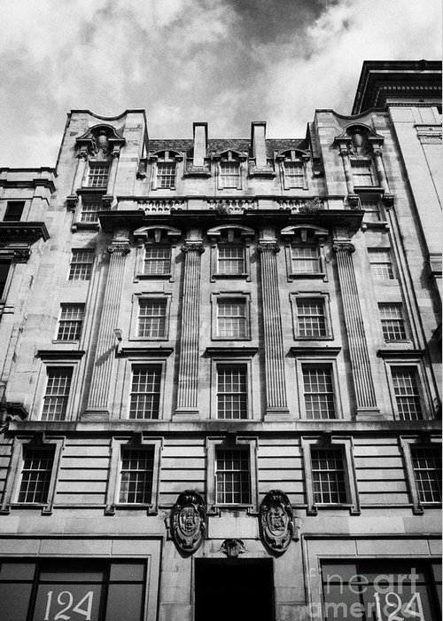 Refurbished Greeting Card featuring the photograph Ornate Facade Of 124 St Vincent Street Refurbished Into Modern Office Space Glasgow Scotland Uk by Joe Fox