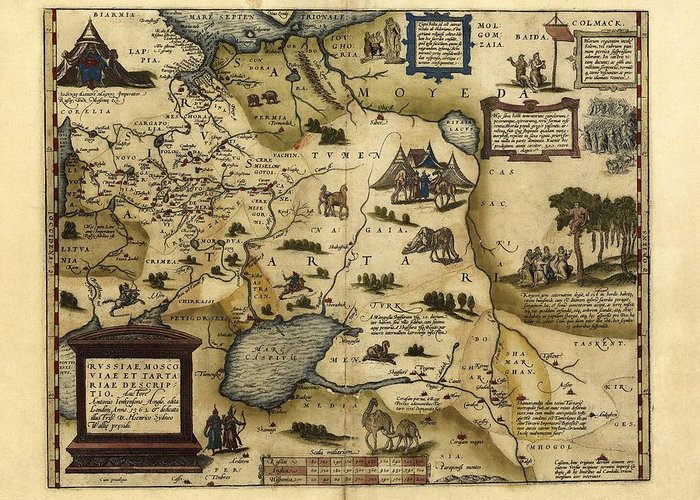 Ortelius S Map Of European Russia 1570 Greeting Card For Sale By