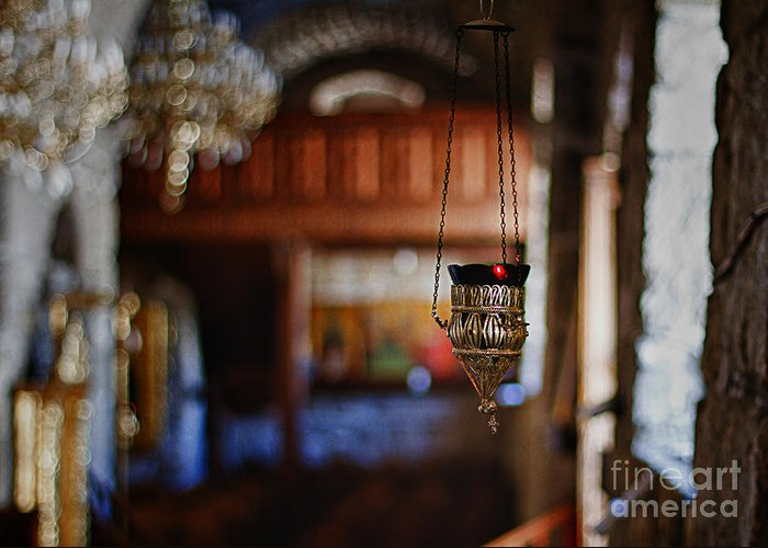 Candle Greeting Card featuring the photograph Orthodox Church Oil Candle by Stelios Kleanthous